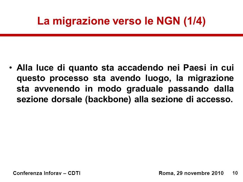10 Conferenza Inforav – CDTIRoma, 29 novembre 2010 La migrazione verso le NGN (1/4) Alla luce di quanto sta accadendo nei Paesi in cui questo processo sta avendo luogo, la migrazione sta avvenendo in modo graduale passando dalla sezione dorsale (backbone) alla sezione di accesso.