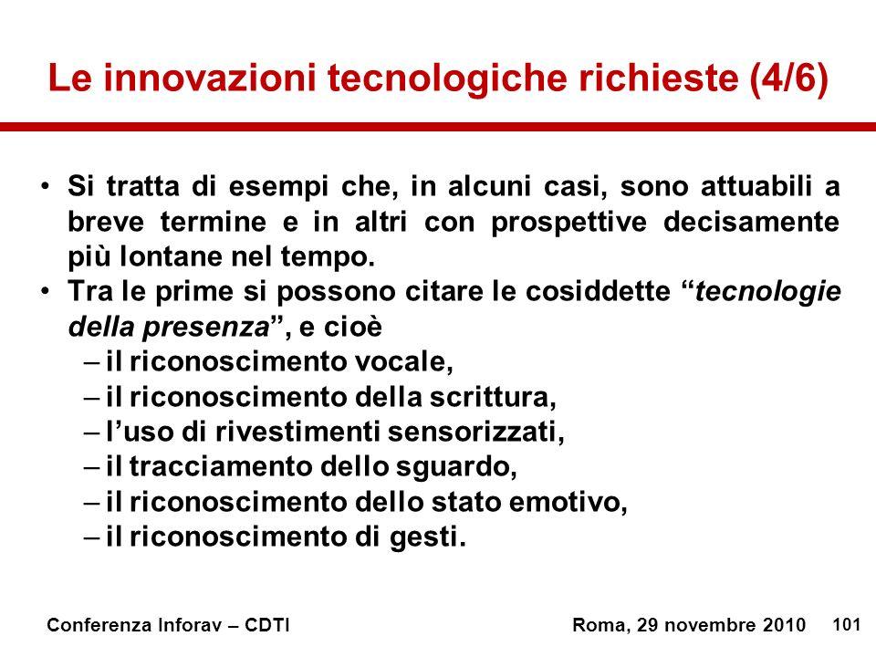 101 Conferenza Inforav – CDTIRoma, 29 novembre 2010 Le innovazioni tecnologiche richieste (4/6) Si tratta di esempi che, in alcuni casi, sono attuabili a breve termine e in altri con prospettive decisamente più lontane nel tempo.