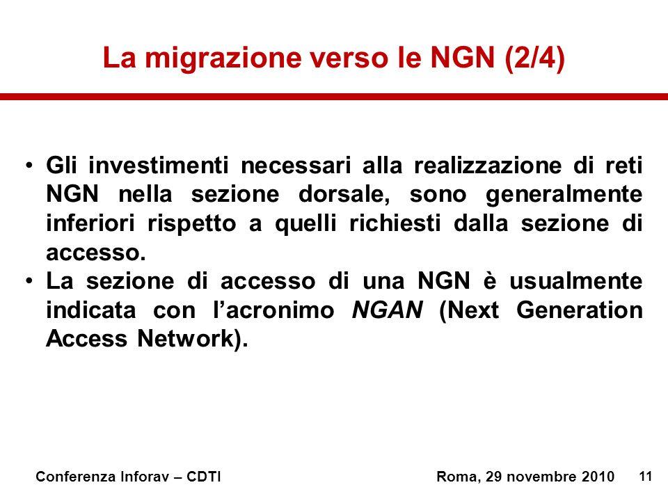 11 Conferenza Inforav – CDTIRoma, 29 novembre 2010 La migrazione verso le NGN (2/4) Gli investimenti necessari alla realizzazione di reti NGN nella sezione dorsale, sono generalmente inferiori rispetto a quelli richiesti dalla sezione di accesso.