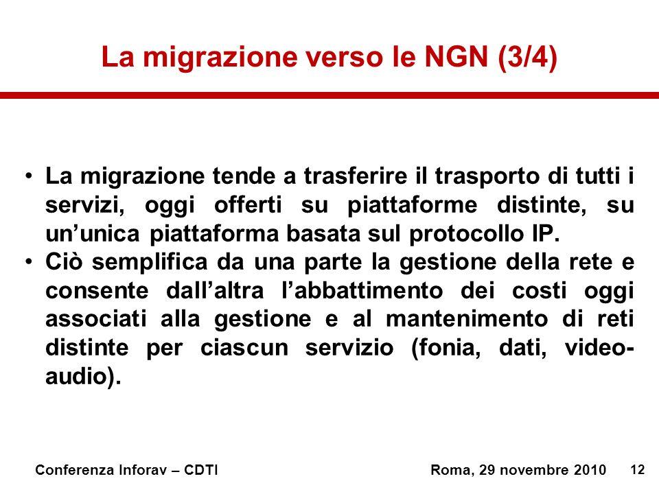 12 Conferenza Inforav – CDTIRoma, 29 novembre 2010 La migrazione verso le NGN (3/4) La migrazione tende a trasferire il trasporto di tutti i servizi, oggi offerti su piattaforme distinte, su ununica piattaforma basata sul protocollo IP.
