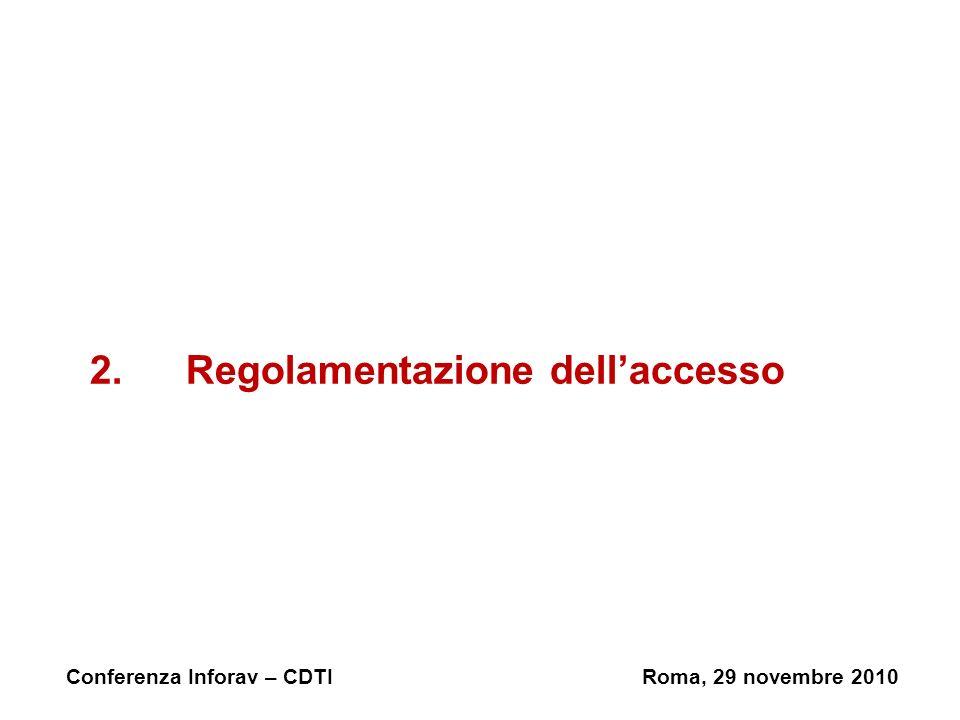 2.Regolamentazione dellaccesso Conferenza Inforav – CDTIRoma, 29 novembre 2010