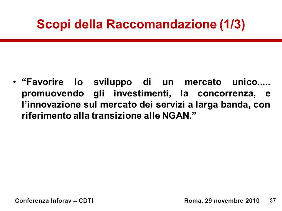 37 Conferenza Inforav – CDTIRoma, 29 novembre 2010 Scopi della Raccomandazione (1/3) Favorire lo sviluppo di un mercato unico.....