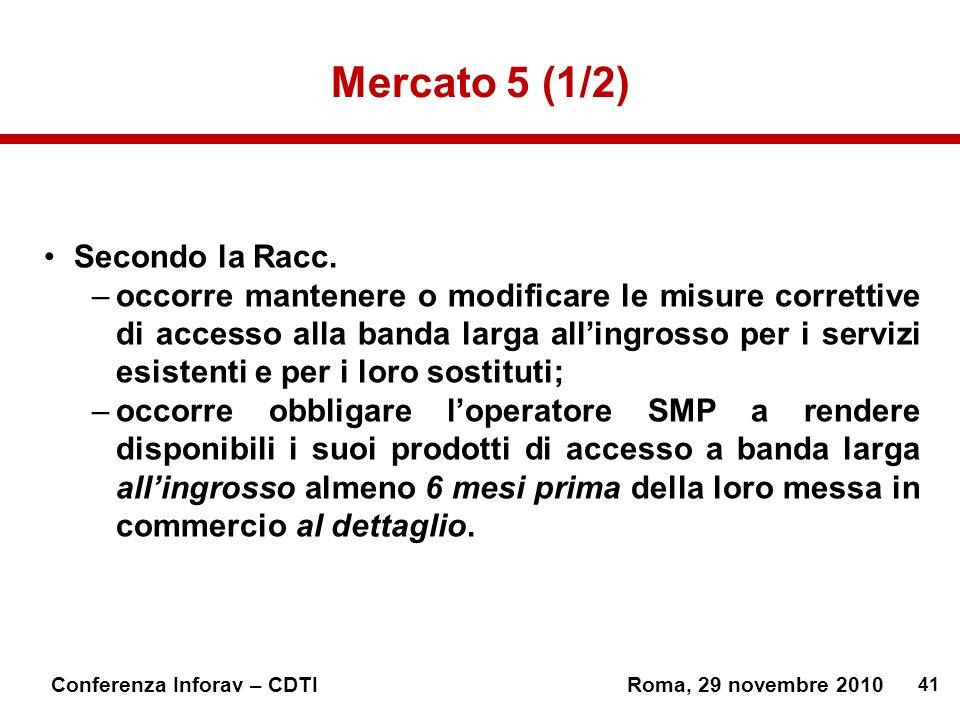 41 Conferenza Inforav – CDTIRoma, 29 novembre 2010 Mercato 5 (1/2) Secondo la Racc.