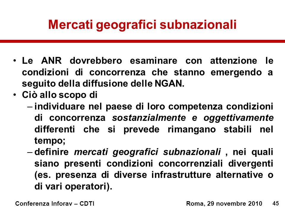 45 Conferenza Inforav – CDTIRoma, 29 novembre 2010 Mercati geografici subnazionali Le ANR dovrebbero esaminare con attenzione le condizioni di concorrenza che stanno emergendo a seguito della diffusione delle NGAN.