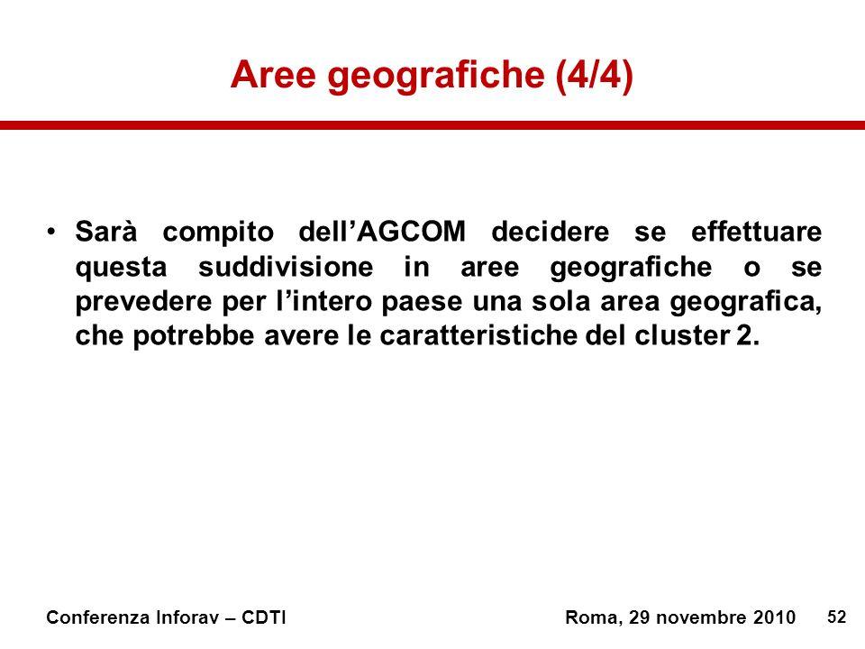 52 Conferenza Inforav – CDTIRoma, 29 novembre 2010 Aree geografiche (4/4) Sarà compito dellAGCOM decidere se effettuare questa suddivisione in aree geografiche o se prevedere per lintero paese una sola area geografica, che potrebbe avere le caratteristiche del cluster 2.