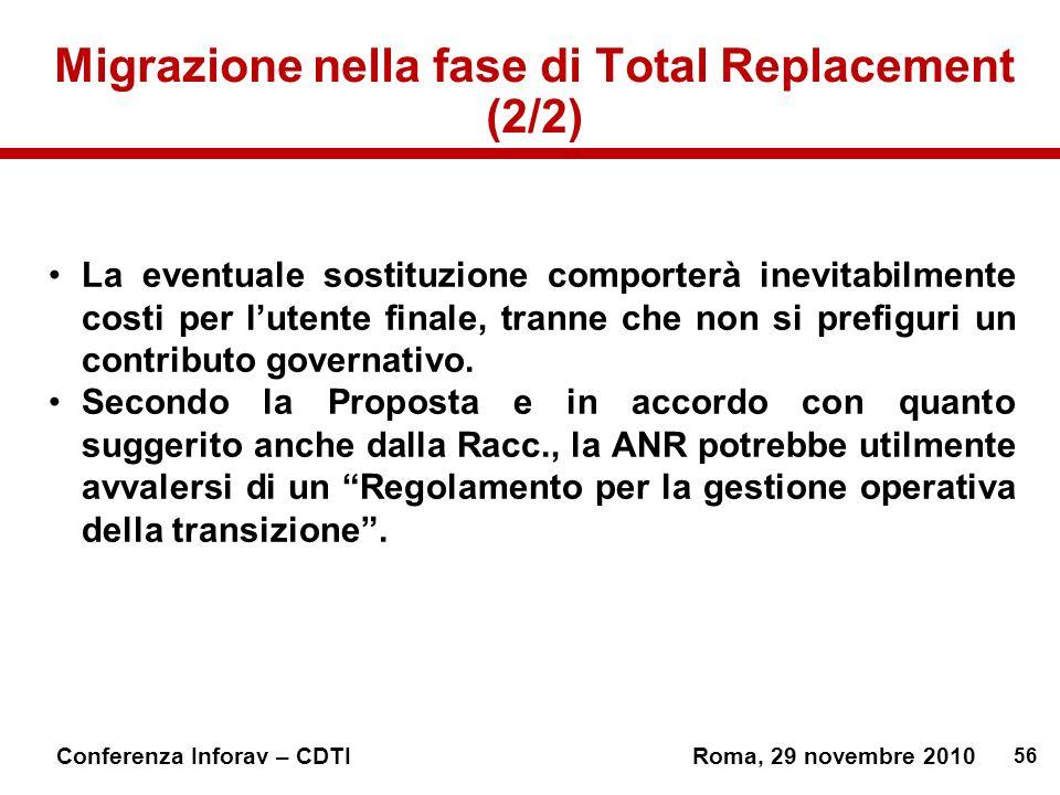 56 Conferenza Inforav – CDTIRoma, 29 novembre 2010 Migrazione nella fase di Total Replacement (2/2) La eventuale sostituzione comporterà inevitabilmente costi per lutente finale, tranne che non si prefiguri un contributo governativo.