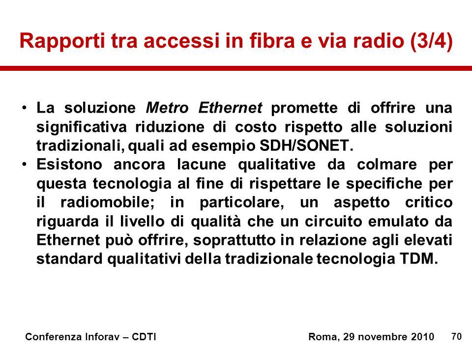 70 Conferenza Inforav – CDTIRoma, 29 novembre 2010 Rapporti tra accessi in fibra e via radio (3/4) La soluzione Metro Ethernet promette di offrire una significativa riduzione di costo rispetto alle soluzioni tradizionali, quali ad esempio SDH/SONET.