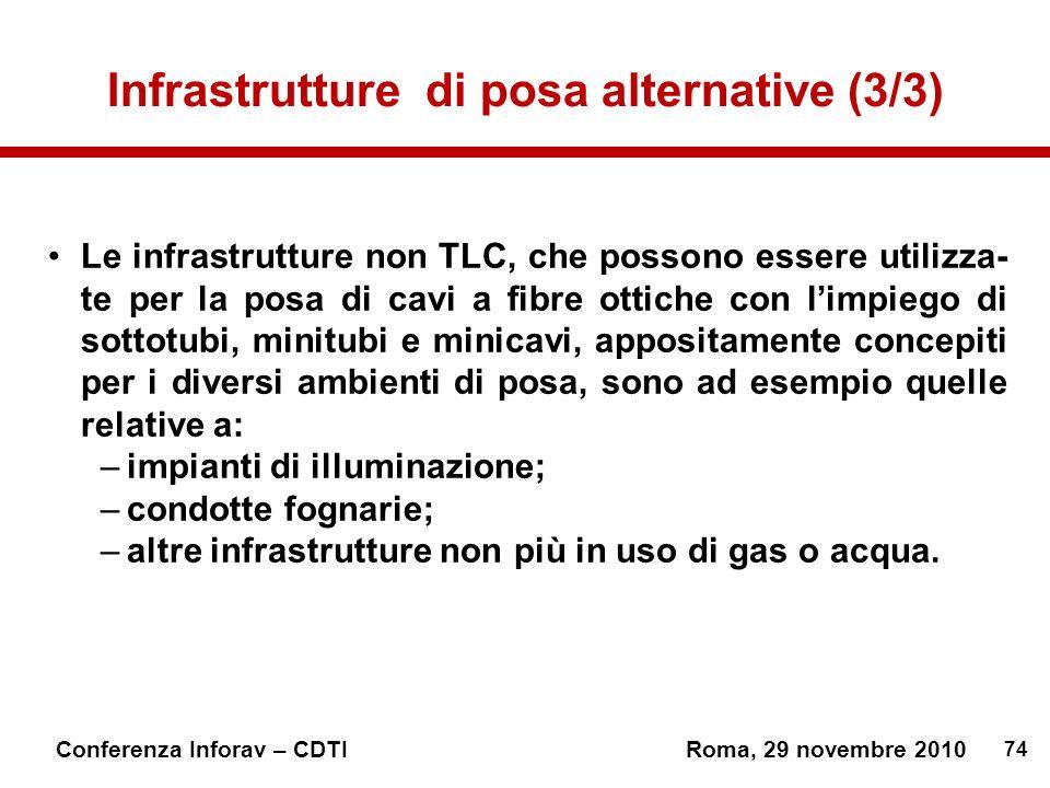 74 Conferenza Inforav – CDTIRoma, 29 novembre 2010 Infrastrutture di posa alternative (3/3) Le infrastrutture non TLC, che possono essere utilizza- te per la posa di cavi a fibre ottiche con limpiego di sottotubi, minitubi e minicavi, appositamente concepiti per i diversi ambienti di posa, sono ad esempio quelle relative a: –impianti di illuminazione; –condotte fognarie; –altre infrastrutture non più in uso di gas o acqua.