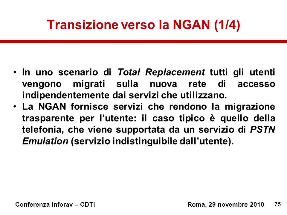 75 Conferenza Inforav – CDTIRoma, 29 novembre 2010 Transizione verso la NGAN (1/4) In uno scenario di Total Replacement tutti gli utenti vengono migrati sulla nuova rete di accesso indipendentemente dai servizi che utilizzano.
