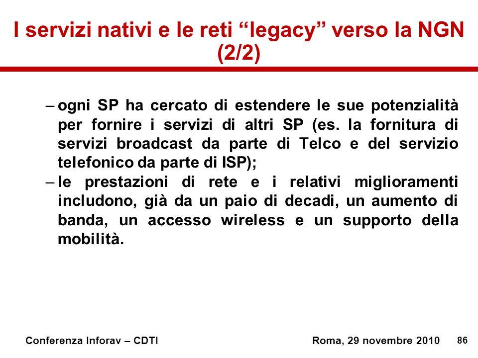 86 Conferenza Inforav – CDTIRoma, 29 novembre 2010 I servizi nativi e le reti legacy verso la NGN (2/2) –ogni SP ha cercato di estendere le sue potenzialità per fornire i servizi di altri SP (es.