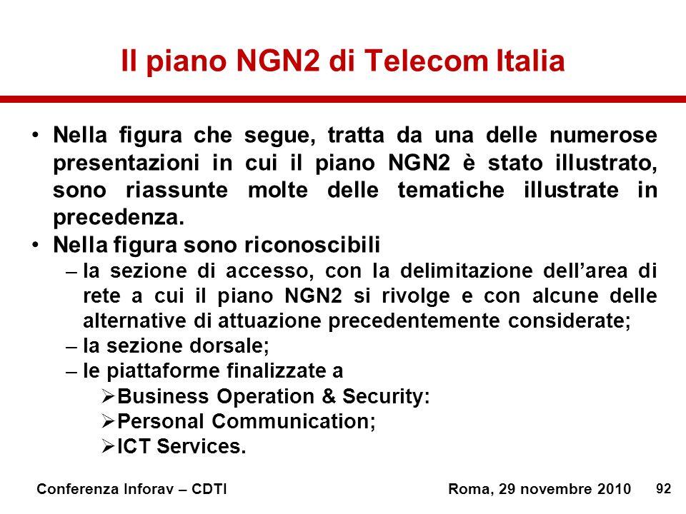 92 Conferenza Inforav – CDTIRoma, 29 novembre 2010 Il piano NGN2 di Telecom Italia Nella figura che segue, tratta da una delle numerose presentazioni in cui il piano NGN2 è stato illustrato, sono riassunte molte delle tematiche illustrate in precedenza.