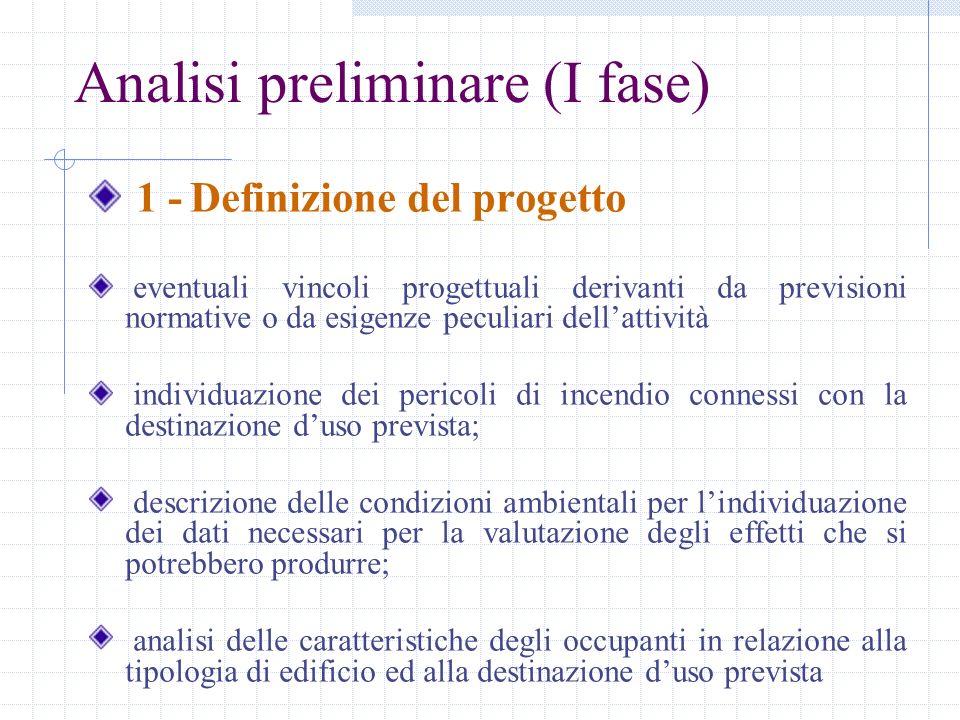 Analisi preliminare (I fase) 1 - Definizione del progetto eventuali vincoli progettuali derivanti da previsioni normative o da esigenze peculiari dell