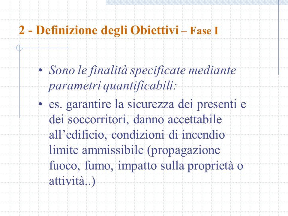 2 - Definizione degli Obiettivi – Fase I Sono le finalità specificate mediante parametri quantificabili: es. garantire la sicurezza dei presenti e dei