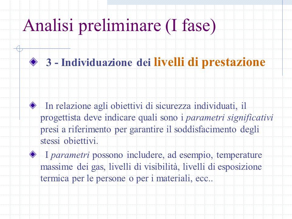 Analisi preliminare (I fase) 3 - Individuazione dei livelli di prestazione In relazione agli obiettivi di sicurezza individuati, il progettista deve i