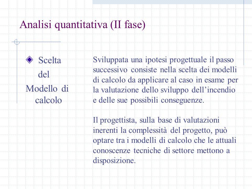 Analisi quantitativa (II fase) Scelta del Modello di calcolo Sviluppata una ipotesi progettuale il passo successivo consiste nella scelta dei modelli