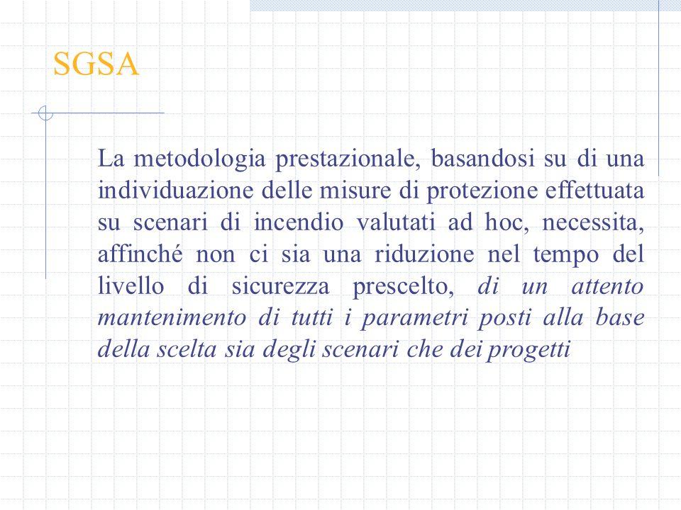 SGSA La metodologia prestazionale, basandosi su di una individuazione delle misure di protezione effettuata su scenari di incendio valutati ad hoc, ne