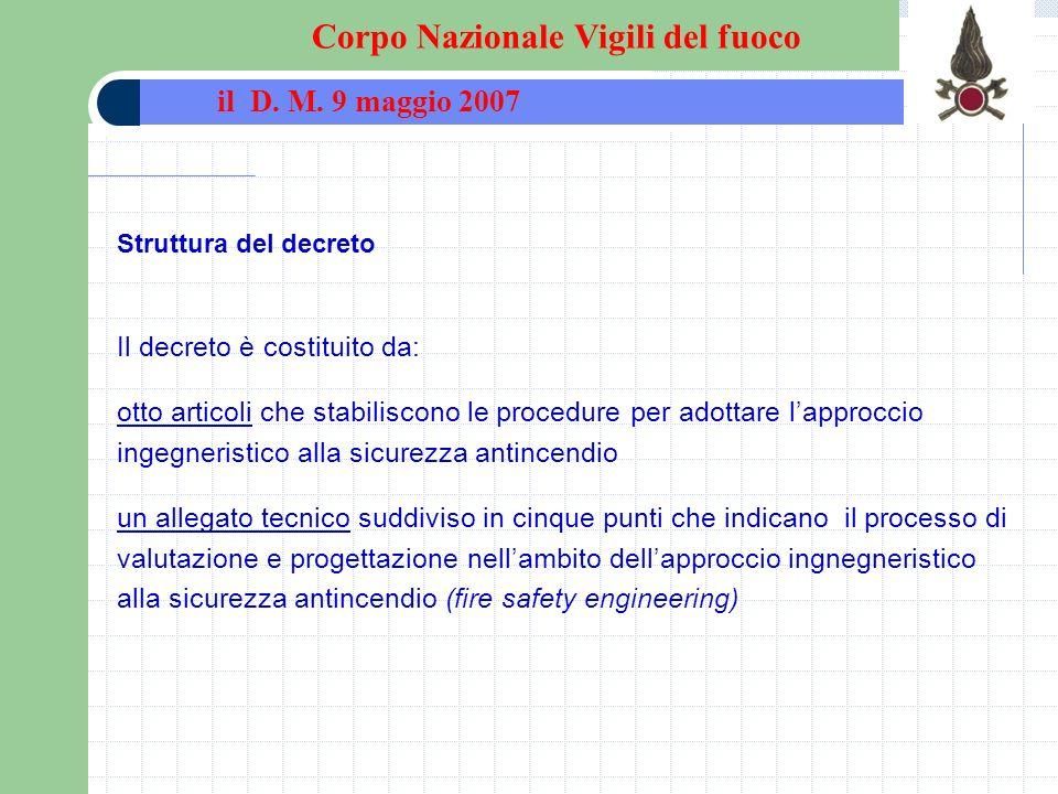 Struttura del decreto Il decreto è costituito da: otto articoli che stabiliscono le procedure per adottare lapproccio ingegneristico alla sicurezza an