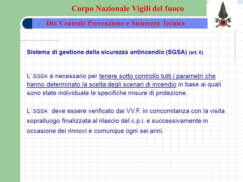 Sistema di gestione della sicurezza antincendio (SGSA) (art. 6) L SGSA è necessario per tenere sotto controllo tutti i parametri che hanno determinato