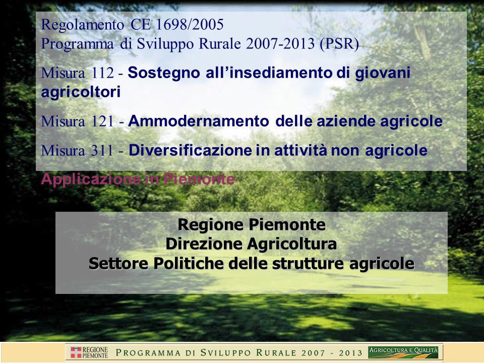 Regione Piemonte Direzione Agricoltura Settore Politiche delle strutture agricole Regolamento CE 1698/2005 Programma di Sviluppo Rurale 2007-2013 (PSR) Misura 112 - Sostegno allinsediamento di giovani agricoltori Misura 121 - Ammodernamento delle aziende agricole Misura 311 - Diversificazione in attività non agricole Applicazione in Piemonte