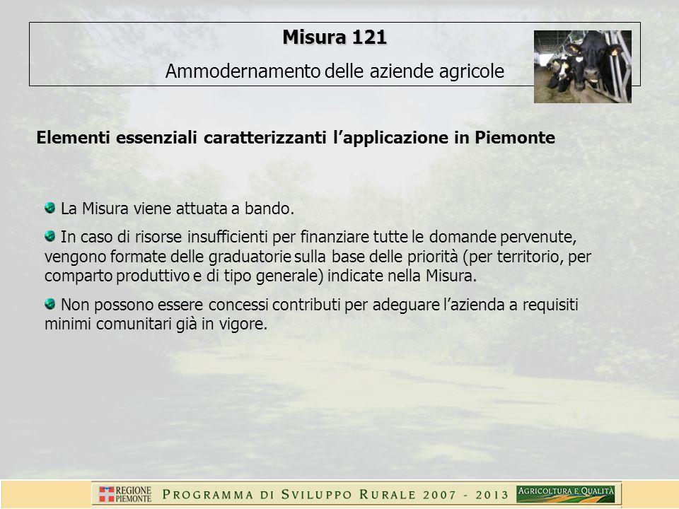 Misura 121 Ammodernamento delle aziende agricole Elementi essenziali caratterizzanti lapplicazione in Piemonte La Misura viene attuata a bando. In cas