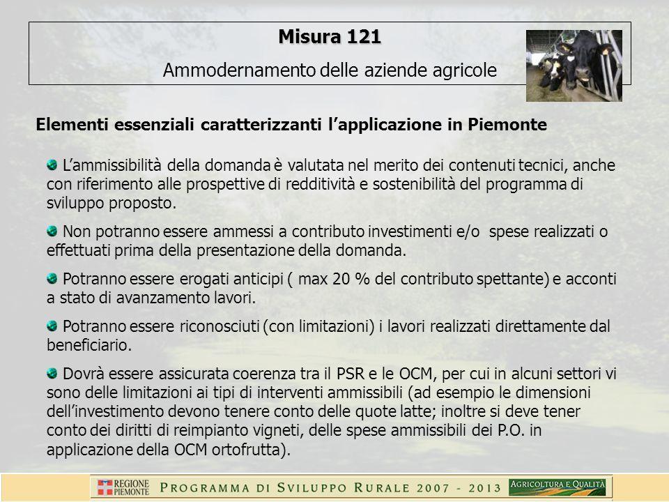 Misura 121 Ammodernamento delle aziende agricole Elementi essenziali caratterizzanti lapplicazione in Piemonte Lammissibilità della domanda è valutata nel merito dei contenuti tecnici, anche con riferimento alle prospettive di redditività e sostenibilità del programma di sviluppo proposto.