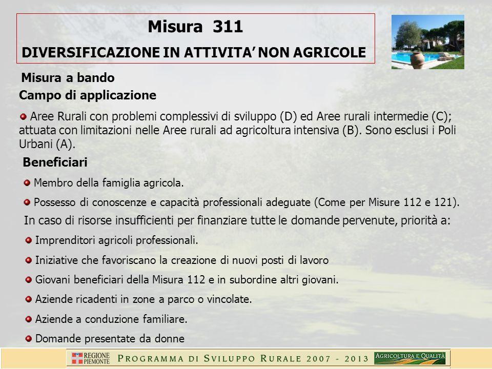 Beneficiari Membro della famiglia agricola. Possesso di conoscenze e capacità professionali adeguate (Come per Misure 112 e 121). Campo di applicazion