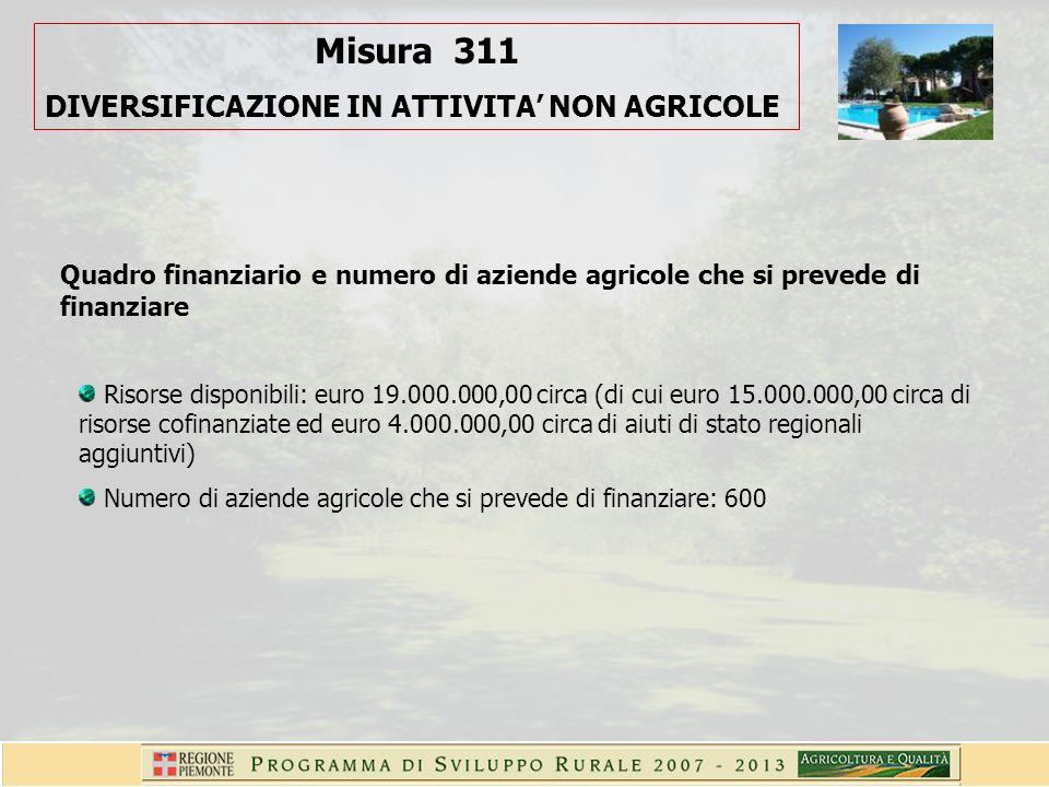 Misura 311 DIVERSIFICAZIONE IN ATTIVITA NON AGRICOLE Quadro finanziario e numero di aziende agricole che si prevede di finanziare Risorse disponibili: euro 19.000.000,00 circa (di cui euro 15.000.000,00 circa di risorse cofinanziate ed euro 4.000.000,00 circa di aiuti di stato regionali aggiuntivi) Numero di aziende agricole che si prevede di finanziare: 600