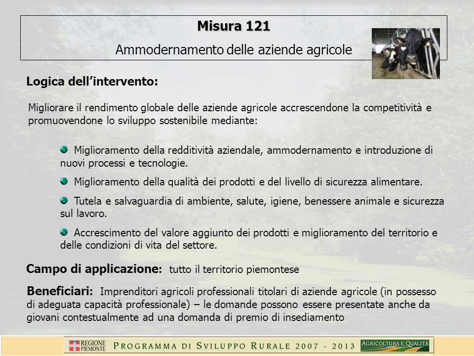 Misura 121 Ammodernamento delle aziende agricole Logica dellintervento: Migliorare il rendimento globale delle aziende agricole accrescendone la competitività e promuovendone lo sviluppo sostenibile mediante: Miglioramento della redditività aziendale, ammodernamento e introduzione di nuovi processi e tecnologie.