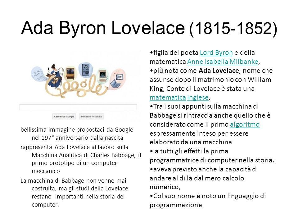 bellissima immagine propostaci da Google nel 197° anniversario dalla nascita rappresenta Ada Lovelace al lavoro sulla Macchina Analitica di Charles Babbage, il primo prototipo di un computer meccanico La macchina di Babbage non venne mai costruita, ma gli studi della Lovelace restano importanti nella storia del computer.