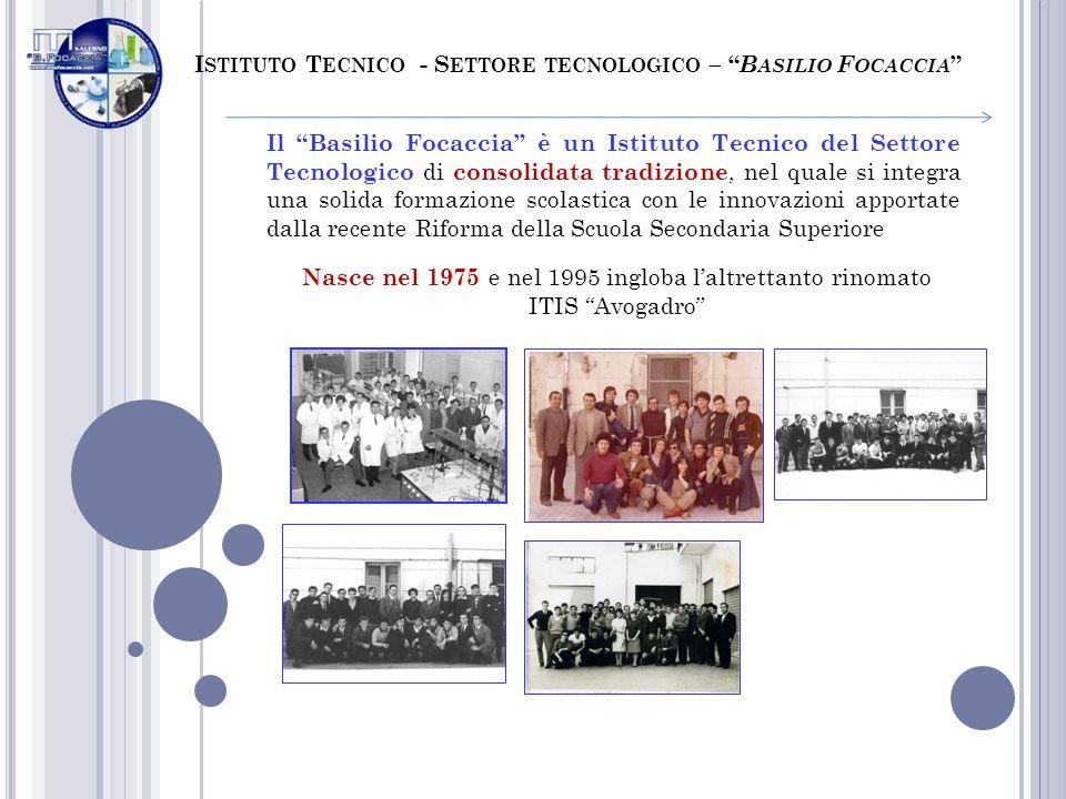 I STITUTO T ECNICO - S ETTORE TECNOLOGICO – B ASILIO F OCACCIA Il Basilio Focaccia è un Istituto Tecnico del Settore Tecnologico di consolidata tradiz