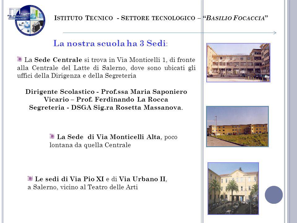 La nostra scuola ha 3 Sedi : La Sede Centrale si trova in Via Monticelli 1, di fronte alla Centrale del Latte di Salerno, dove sono ubicati gli uffici