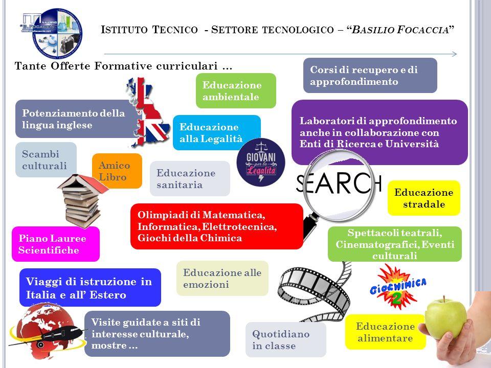 Potenziamento della lingua inglese Educazione ambientale I STITUTO T ECNICO - S ETTORE TECNOLOGICO – B ASILIO F OCACCIA Tante Offerte Formative curric