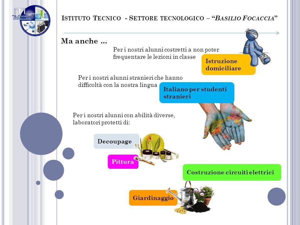 Italiano per studenti stranieri Istruzione domiciliare Ma anche... I STITUTO T ECNICO - S ETTORE TECNOLOGICO – B ASILIO F OCACCIA Per i nostri alunni