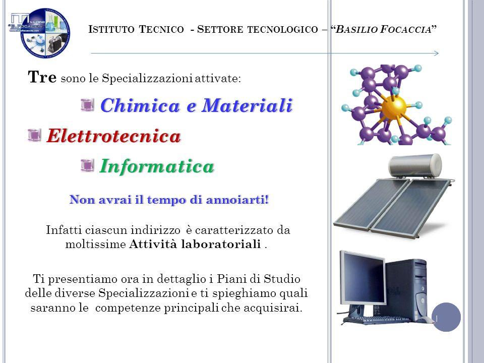 Tre sono le Specializzazioni attivate: I STITUTO T ECNICO - S ETTORE TECNOLOGICO – B ASILIO F OCACCIA Infatti ciascun indirizzo è caratterizzato da mo