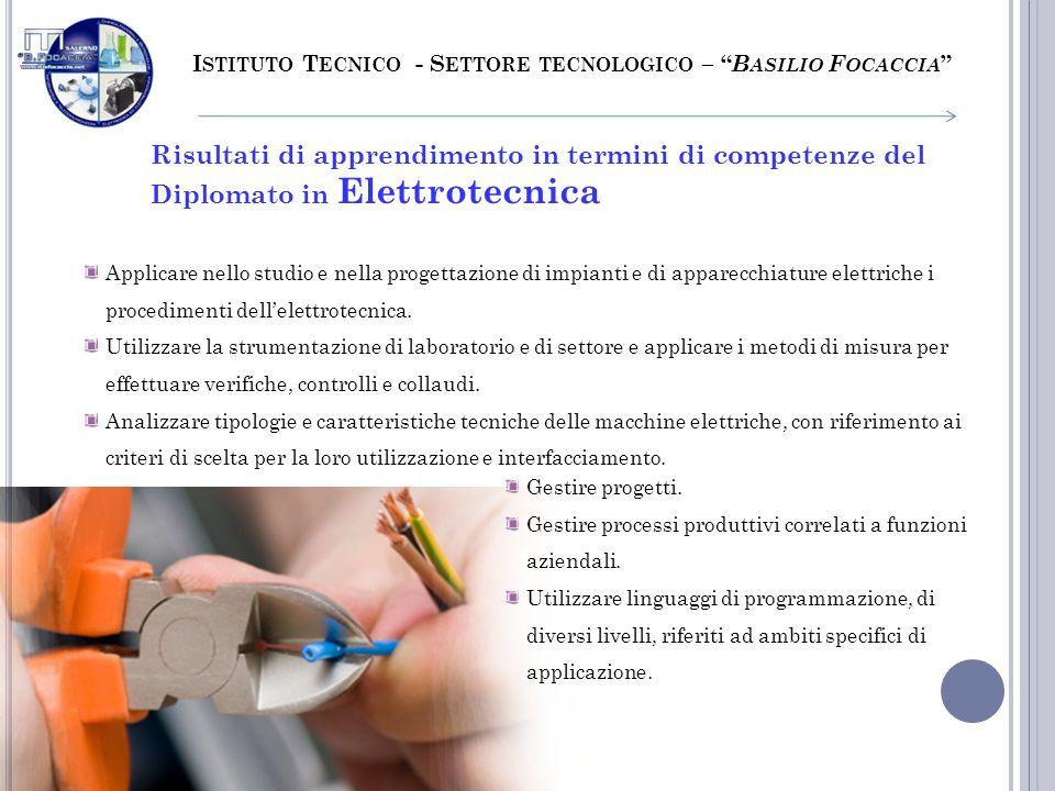 I STITUTO T ECNICO - S ETTORE TECNOLOGICO – B ASILIO F OCACCIA Risultati di apprendimento in termini di competenze del Diplomato in Elettrotecnica App