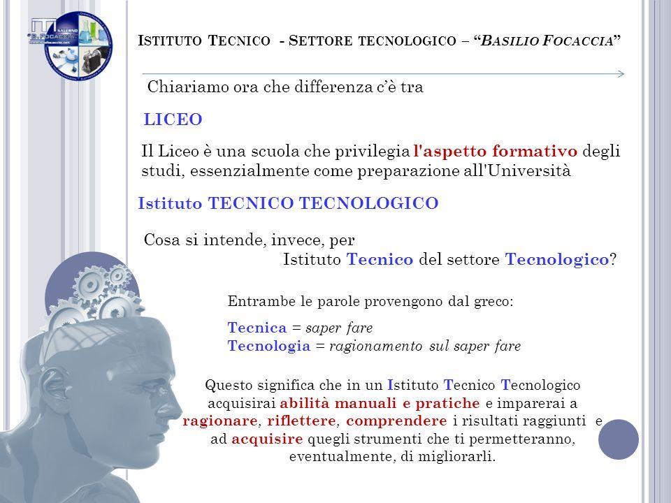 I STITUTO T ECNICO - S ETTORE TECNOLOGICO – B ASILIO F OCACCIA Cosa si intende, invece, per Istituto Tecnico del settore Tecnologico ? Entrambe le par