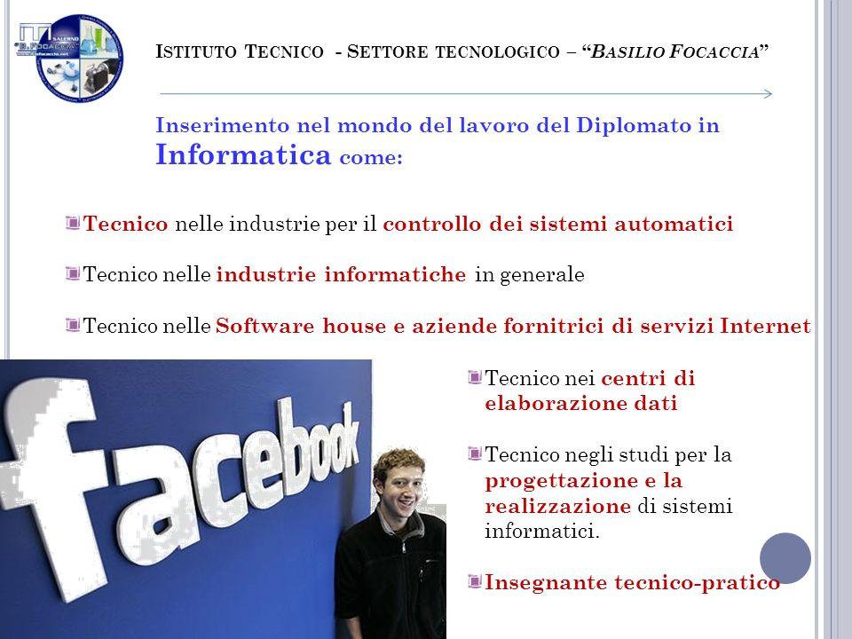 I STITUTO T ECNICO - S ETTORE TECNOLOGICO – B ASILIO F OCACCIA Inserimento nel mondo del lavoro del Diplomato in Informatica come: Tecnico nelle indus