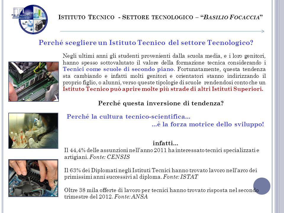 Perché scegliere un Istituto Tecnico del settore Tecnologico? I STITUTO T ECNICO - S ETTORE TECNOLOGICO – B ASILIO F OCACCIA Negli ultimi anni gli stu