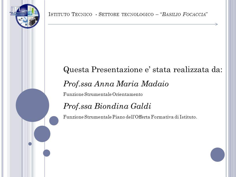 Questa Presentazione e stata realizzata da: Prof.ssa Anna Maria Madaio Funzione Strumentale Orientamento Prof.ssa Biondina Galdi Funzione Strumentale