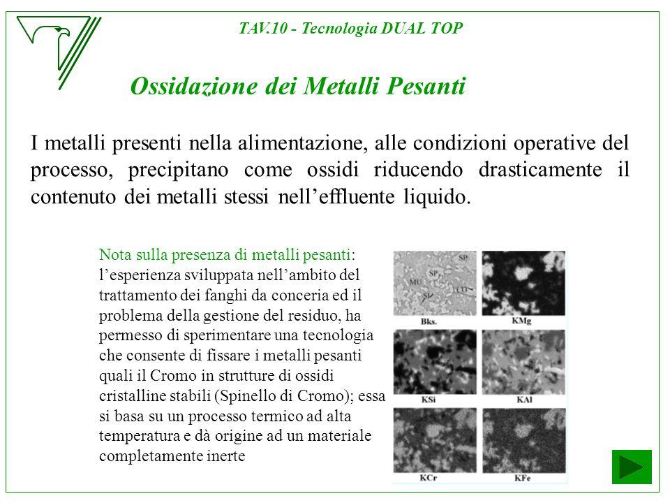 Ossidazione dei Metalli Pesanti I metalli presenti nella alimentazione, alle condizioni operative del processo, precipitano come ossidi riducendo dras