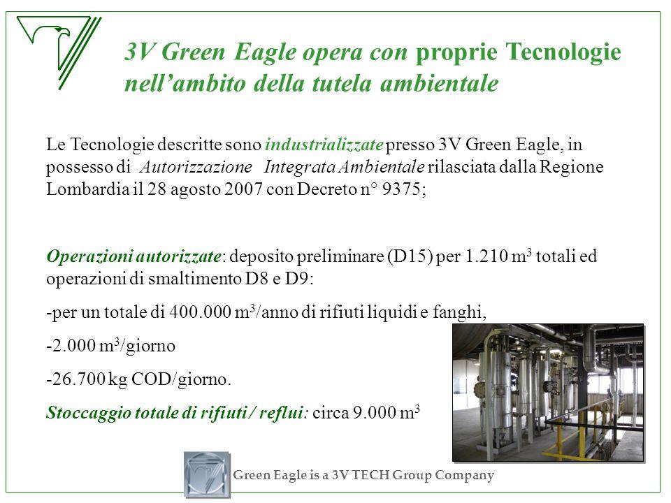 Green Eagle is a 3V TECH Group Company Le Tecnologie descritte sono industrializzate presso 3V Green Eagle, in possesso di Autorizzazione Integrata Am