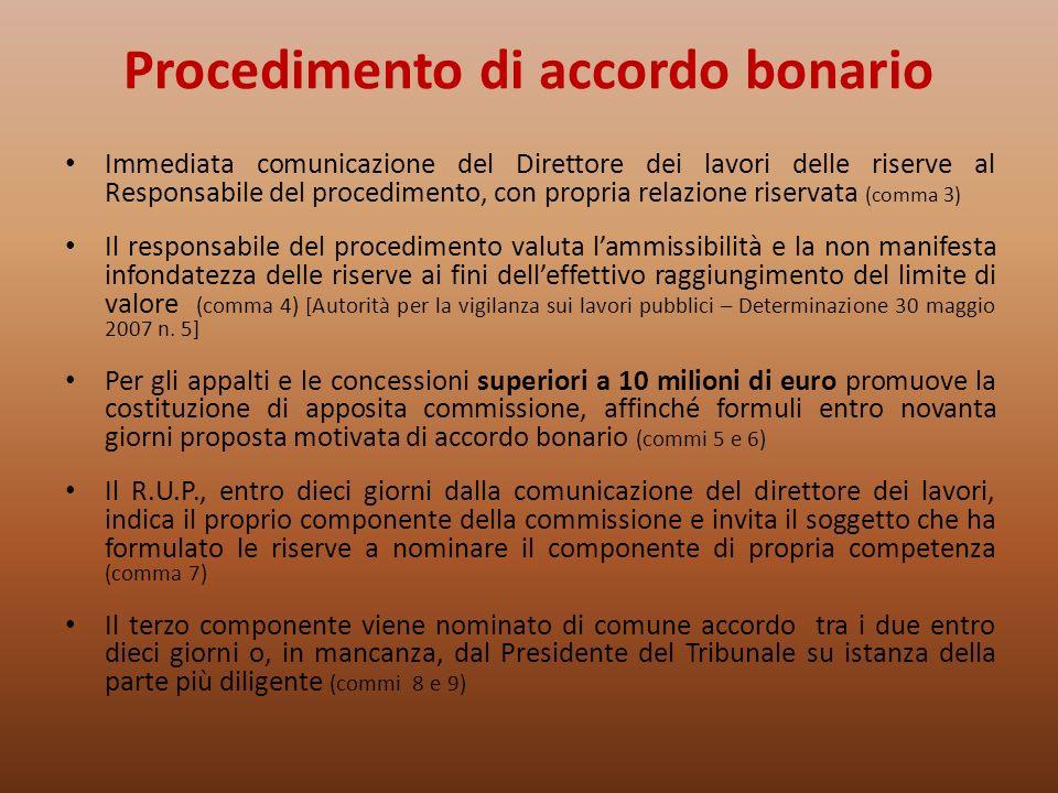 Procedimento di accordo bonario Immediata comunicazione del Direttore dei lavori delle riserve al Responsabile del procedimento, con propria relazione