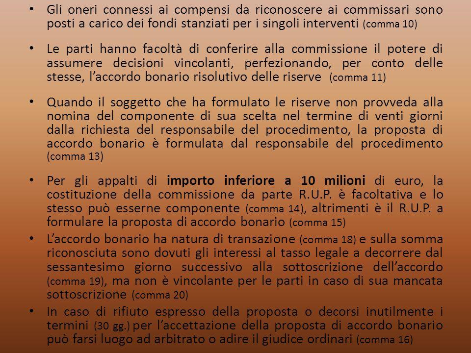 Gli oneri connessi ai compensi da riconoscere ai commissari sono posti a carico dei fondi stanziati per i singoli interventi (comma 10) Le parti hanno