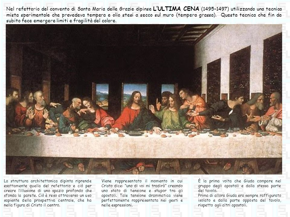 Nel refettorio del convento di Santa Maria delle Grazie dipinse LULTIMA CENA (1495-1497) utilizzando una tecnica mista sperimentale che prevedeva temp