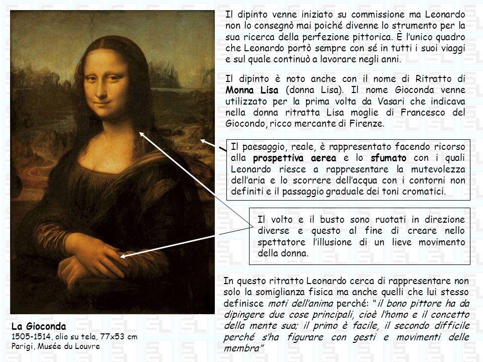 La Gioconda 1505-1514, olio su tela, 77x53 cm Parigi, Musée du Louvre Il dipinto venne iniziato su commissione ma Leonardo non lo consegnò mai poiché