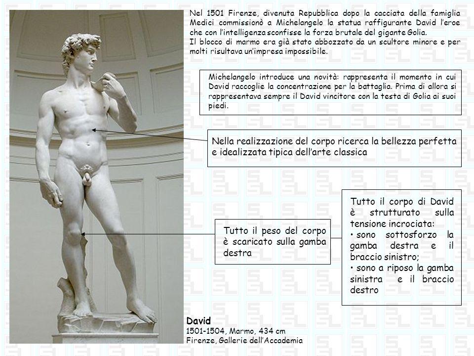 David 1501-1504, Marmo, 434 cm Firenze, Gallerie dellAccademia Nel 1501 Firenze, divenuta Repubblica dopo la cacciata della famiglia Medici commission