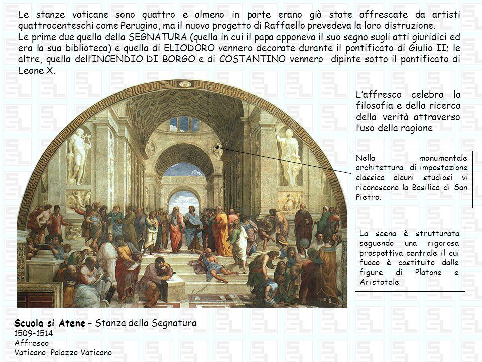 Le stanze vaticane sono quattro e almeno in parte erano già state affrescate da artisti quattrocenteschi come Perugino, ma il nuovo progetto di Raffae