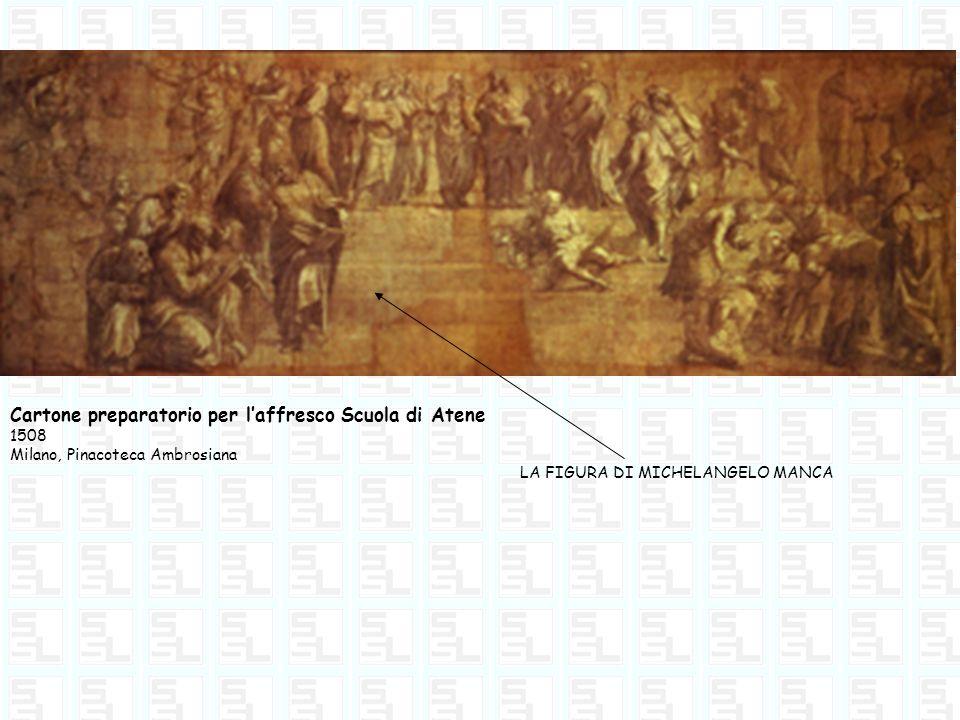 Cartone preparatorio per laffresco Scuola di Atene 1508 Milano, Pinacoteca Ambrosiana LA FIGURA DI MICHELANGELO MANCA