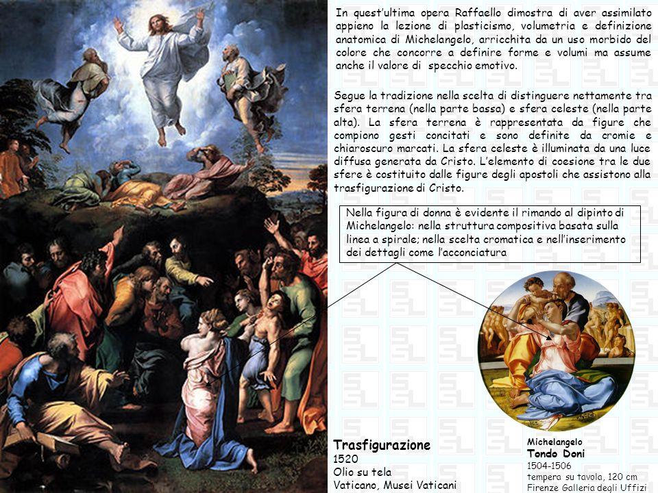 In questultima opera Raffaello dimostra di aver assimilato appieno la lezione di plasticismo, volumetria e definizione anatomica di Michelangelo, arri