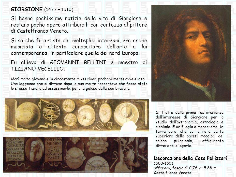 GIORGIONE (1477 – 1510) Si hanno pochissime notizie della vita di Giorgione e restano poche opere attribuibili con certezza al pittore di Castelfranco